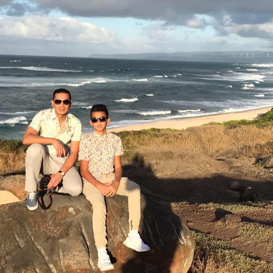 Kwok Yang (Jack) Ng beach with son